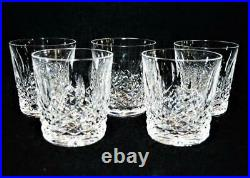 Set/5 Vintage Waterford Ireland Crystal Lismore Whiskey Glasses Tumblers 3 7/8h