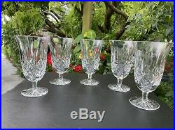 Set (5) Waterford Crystal Lismore Footed Iced Tea Water Goblets 6 1/2 Mint