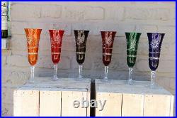 Set 6 Bohemia czech crystal glass champagne long glasses original boxed 60s