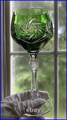Set (6) Bohemian Czech Cut to Clear Crystal Wine Glasses Hortensia Poland