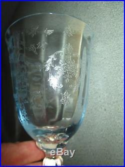 Set 6 Lenox Blue Crystal Navarre Glasses Water Goblet Etched Fostoria 7 5/8 Wine