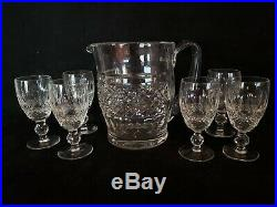 Set 6 Signed Waterford Crystal Colleen Sherry Port Wine Glasses + Pitcher