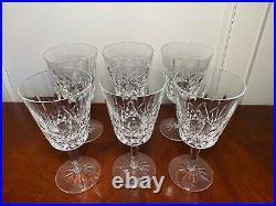 Set 6 Vintage WATERFORD CRYSTAL Lismore Large 6-7/8 Water Wine Goblets IRELAND