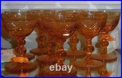 Set 8 Antique American Brilliant Amber Cut Glass Crystal Port Wine Sherry Stems