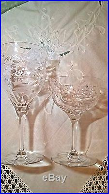 Set 8 Crystal Water/Wine Goblets Seneca ANNIVERSARY Pattern Glasses/Goblets