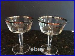 Set 8 Cut Crystal Martini Champagne Glasses Lenox SOLITAIRE Platinum Band