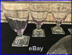 Set 8 William Yeoward Violet/purple Crystal Goblets Glasses Stemware 5.5