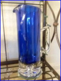 Set Block Crystal Stockholm Cobalt Blue Pitcher, Decanter, Bowl, Ice Bucket+