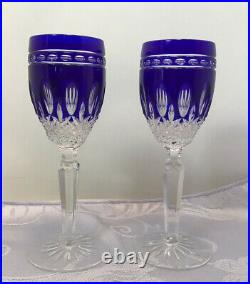 Set Of 2 WATERFORD Crystal Clarendon Cobalt Blue Liqueur/ Cordial Glasses 6