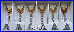 Set Of 6 Beautiful Saint-Louis Crystal Bubbles Hock Wine Glasses Amber