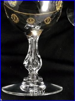 Set Of 6 Tiffin Crystal Palais Versailles Champagne Glasses Gold Trimmed