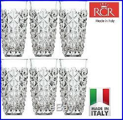 Set Of 6x RCR Italian Crystal Enigma Hi-Ball 40cl Tumbler Gift/Presentation Box