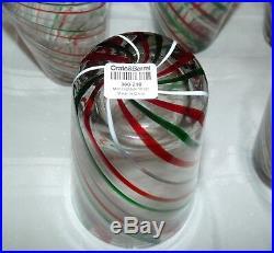 Set Of 8 Crate Barrel Green Red White Swirl Mint Highball Glasses Tumblers S2