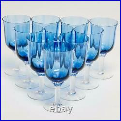 Set Of Ten (10) Gorham Octette Blue Blown Glass Wine Glasses