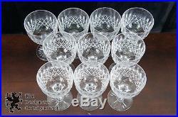 Set of 10 Vintage Tudor England Cut Crystal Wine Glasses Water Goblets Stemware