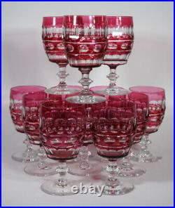 Set of 12 Val St Lambert Cranberry Cut to Clear Water Goblets, Circa 1920
