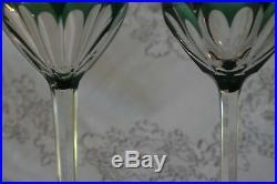 Set of 2 Belgian Crystal Val St Lambert Dark Green Osram Wine Glasses/ Goblets