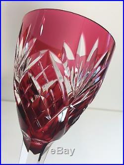 Set of 2 Fine French Crystal Saint-Louis Stemmed Glasses, Burgundy & Cranberry