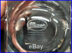 Set of 2 Moser Crystal Bar Ice Bottom Double Old Fashioned Rocks Glasses