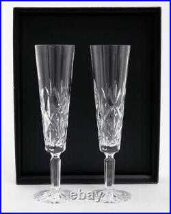 Set of 2 Tiffany & Co'Sybil' Pattern Cut Crystal Champagne Flute Glasses in Box