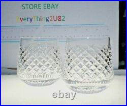 Set of 2 WATERFORD Crystal ALANA Roly Poly Tumblers 3.5 Signed Made in Ireland