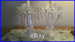Set of 2 WATERFORD Crystal Candelabra Candlesticks with Bobeches