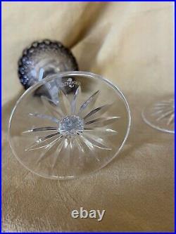 Set of 2 Waterford Crystal Clarendon Amethyst Purple Wine Hock Glass 1911394