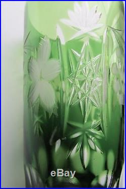 Set of 4 AJKA of Hungary Mouth Blown, Crystal Cut Clear glasses Marsala green