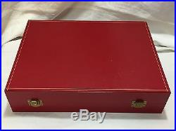 Set of 4 CARTIER Crystal Champagne Flutes in Red Presentation Box
