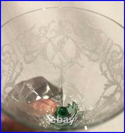 Set of 4 Central Glass MORGAN Crystal & Green Goblets Unused