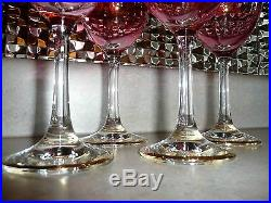 Set of 4 Crystal Cranberry Pink Luster Gold Encrusted Wine 7.5 Stemware Glasses