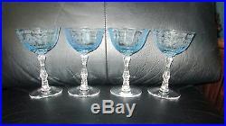 Set of 4 Fostoria Navarre Blue Crystal Champagne Sherbet Glasses 5 1/2 Etched