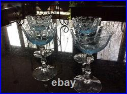 Set of 4 Fostoria Navarre Blue Crystal Champagne Sherbet Glasses Never Used