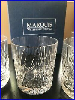 Set of 4 MARQUIS WATERFORD CRYSTAL Old Fashioned Glasses- Scotch Whiskey Rocks