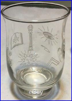 Set of 4 RARE Crystal Masonic Shriner Free Masons Etched Vintage Libbey Glasses