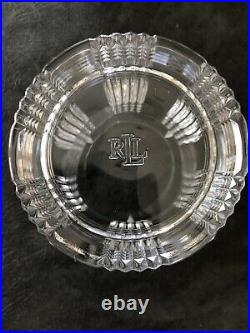 Set of 4 Ralph Lauren Crystal Glen Plaid 4 Double Old Fashioned Whiskey Glasses