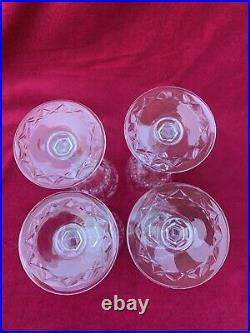 Set of 4 Rogaska GALLIA Cut Crystal Wine Glasses Goblets 7 3/4 H