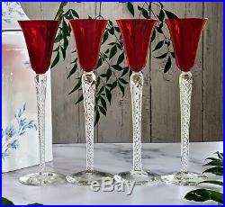Set of 4 Tall Stuart Crystal Cordials with Vivid Red Bowls and Air Twist Stems