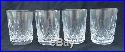 Set of 4 Waterford Crystal Lismore 5 oz Flat Tumblers 3 1/2 Tall Excellent