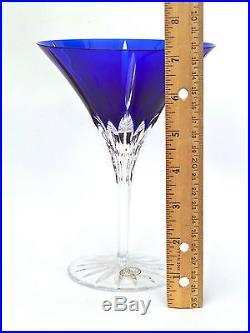 Set of 6 Ajka Castille Cobalt Blue Cut to Clear Martini/Cocktail Glasses Goblets