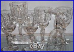 Set of 6 Antique Tiffin Crystal Cut Wine Stems Petit Bubble Stem
