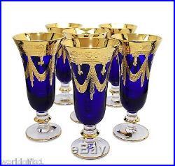 Set of 6 Cobalt Blue Crystal Champagne Glasses, 24K Gold Plated, Vintage Italy