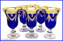 Set of 6 Cobalt Blue Crystal Wine Glasses, 24K Gold Plated, Vintage Italy, 10 oz