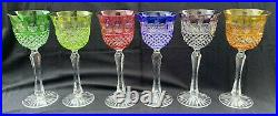 Set of 6 Cut to Clear Crystal Multi-Color Wine Goblets Glasses 8.25H Bohemia