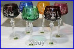 Set of 6 LAUSITZER GERMAN CASED CUT TO CLEAR CRYSTAL WINE GOBLETS 8 NEW