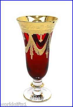 Set of 6 Maroon Red Italian Crystal Champagne Flutes 24K Gold, Interglass