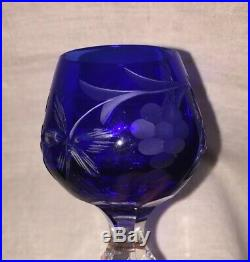Set of 6 NACHTMAN COLORED CRYSTAL CUT Cordial Glasses, Mint Condition