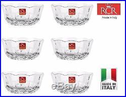 Set of 6 RCR Italian Crystal Opera Desert Bowls, Diameter 11.5cm