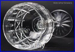 Set of 6 VTG Waterford Cut Irish Crystal KYLEMORE Wine Stem Hock Glasses NR LHB