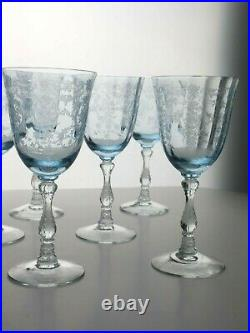 Set of 8 Fostoria Navarre Blue Etched Large Claret Glass Signed
